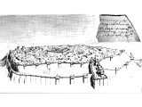 Lachish from a plan and an aerial photograph of the actual excavated remains, shows the double fortifications by Rehoboam, the double gate and governor`s palace. One of the `Lachish letters` is inset.