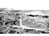 The village of Jerash, site of ancient Gerasa, city of the Decapolis. The Roman name of the city was Antioch on the Chrysorroas.