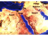 Satellite photo of Palestine, Saudi Arabia and Egypt