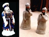A close-up of models of the High Priest and two priests. The High Priest (on the left) is wearing his Ephod and ceremonial clothing ready for the Day of Atonement sacrifice.