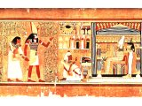 The Scribe Ani, vindicated in the Day of His Judgement, comes before Osiris.Judgement is by weighing the heart. From the Egyptian Papyrus of Ani, in the British Museum.